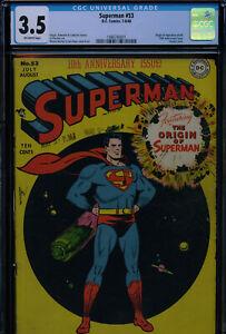 SUPERMAN #53 - CGC-3.5, OW - Classic cover - Origin of Superman retold