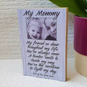 Mothers Day Personalised Wooden Block Mum Mommy Gift Birthday Present Your Photo
