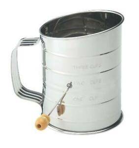 Mrs. Anderson's Baking Hand Crank Flour Icing Sugar Sifter, Stainless Steel,