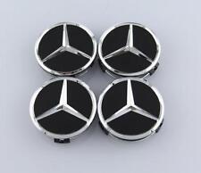 4PCS 75mm Matte Black Wheel Center Hub Cap Badge Emblem Rim Cover Mercedes Benz