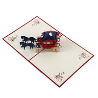 3D Greeting Card Anniversary Valentine's Day Wedding Carriage Postcard Gifts Red
