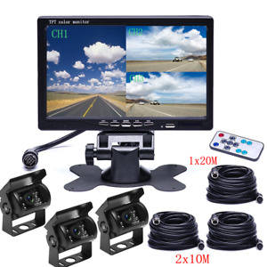 "7"" Quad Monitor Split Screen Reversing 3 Camera IR CCD 4PIN Kit Truck 24V/12V"