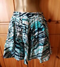 UK10 Blue/green, black and White Flared Skirt Used.