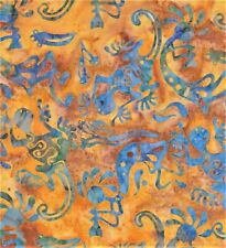 Lizards & Indians Tossed-Orange B/G-Fat 1/4-Batik Textiles-Hand Dyed