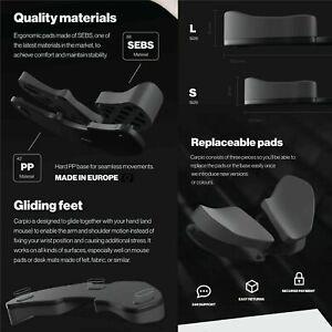 DeltaHub Carpio: Ergonomic Gliding Wrist Rest, for Mac PC (Large, Gray)