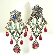 Blue Sapphire Victorian Earrings ! Stunning 14Kt 26 Ct Ruby Diamond