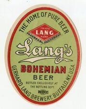 Pre Prohibition Lang's Bohemian Beer Label Gerhard Lang Brewery Buffalo Ny