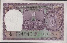 India  1 Rupee  1973   P 77m  Prefix A/58  Uncirculated Banknote