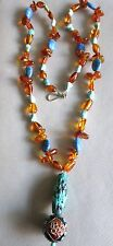 """OLD VINTAGE CHINESE CARVED TURQUOISE AMBER LAPIS BEADS 28""""   NECKLACE"""