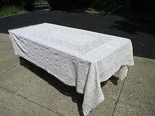 """Tablecloth Crochet Lace Cotton Picot Edge Vintage White Floral Cutters 62"""" x 80"""""""