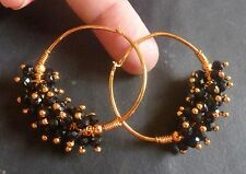 Gold Plated Ring with Black small Bead Indian Ring Jhumki Jhumka Earrings