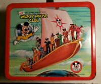 Vintage Aladdin Mickey Mouse Club Lunch Box & Thermos Clean Nice!