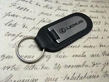 LEXUS BLACK LEATHER KEY RING FOB ETCHED