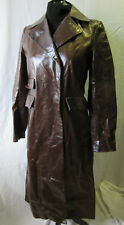 DKNY Long Brown Leather Coat, Genuine British Trenchcoat Cowboy Look