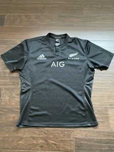 New Zealand All Blacks Rugby Shirt Mens XL Fitted Jersey Kit EUC AIG