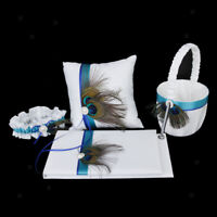 Vintage Peacock Wedding Guest Book,Pen,Ring Pillow,Flower Basket,Garter Set