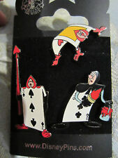 Disney Alice in Wonderland Queen of Hearts Playing Card Soldier 3 pin set