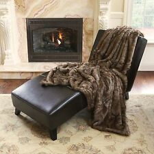 Oversize Faux Fur Coyote Throw Extra Large XL Blanket Bedding Luxury Plush Decor