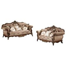 Best Master Winfrey 2-Pc Solid Wood and Chenille Living Room Set in Cherry