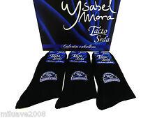 3 Pares de calcetines finos tacto seda puño antipresión negro T. U Isabel Mora