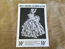 Vintage Original 1951 ribbon & lace Doll Pattern Never Opened Or Used Too Cool