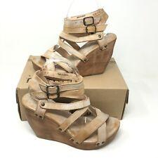 Bed Stu Women's Wedge Heels Ankle Buckle Open Toe Julie Blue Lux Size 10