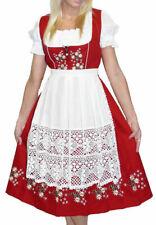 Sz 14 RED German Dirndl Oktoberfest Dress Waitress Hostess Christmas EMBROIDERED