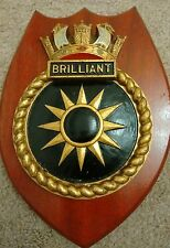 Vintage Painted  HMS BRILLIANT Royal Navy Crest Shield Plaque