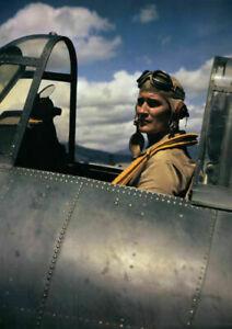 Art print poster ,canvas Pilot Joe Foss Sitting in Cockpit