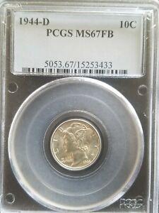 1944-D Mercury Dime PCGS MS67FB * Light Gold Tone * Only 248 Grade Higher *