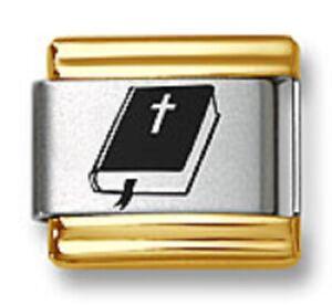 Italian Charm Bracelet Link Laser Bible Religious 9mm Gold Trim Stainless Steel