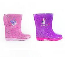 GIRLS GLITTER UNICORN Wellies Pink Glitter Mermaid Wellie Boots Rain Splash Snow