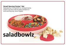 TUPPERWARE SMALL SERVING CENTER SET & removable SNACK CUP in Emberglow Red
