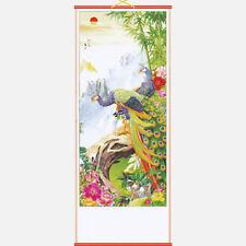 CHINESE WALL HANGING SCROLL - BAMBOO PEACOCKS - 82cm LENGTH - FREE UK P&P