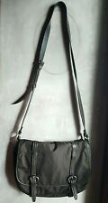 COLE HAAN LEATHER AND NYLON MESSENGER HANDBAG-OLIVE GREEN