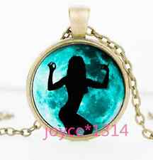 Vintage Moon dancer Cabochon bronze Glass Chain Pendant Necklace #1320