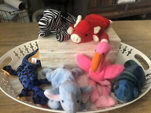 Ty Beanie Babies Lot Of 6 Stuffed Animals Ziggy Snort Rainbow Pinky Peanut Lizzy