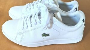LACOSTE CARNABY EVO BL 1 SNEAKER JOGGER WHITE LADIES CASUAL SHOES WORN ONCE US 6