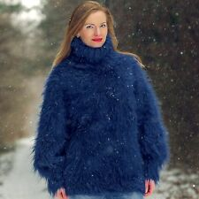 Blue hand knitted fuzzy mohair sweater turtleneck fluffy jumper SUPERTANYA SALE