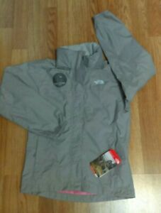 North Face Resolve Reflect Gray Pink Outdoor Girls Jacket with Hood Medium 10/12