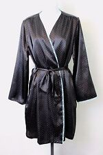 JONES NEW YORK Women's Black with Blue Polka Dots Robe and Gown Set Size L/XL