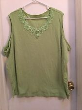 Alia, Ladies Sleeveless knit Top, Size 3X, Apple Green, Pretty lace insert, NWOT