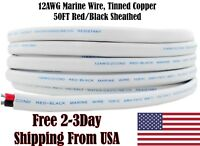 12 AWG Gauge Red Black Tinned Copper Outdoor Trailer Marine Wire Boat Cable 50FT