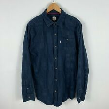 Rip Curl Mens Flannel Button Up Shirt XL Blue Plaid Long Sleeve Collared