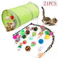 21pcs Funny Pet Tunnel Cat Play Kitten Stick Mouse Cats Stick Ball Toys Bulk Toy