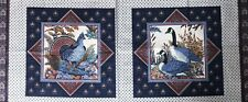 """Cotton Quilt Fabric """"Game Birds Pillow"""" Panel Cranston by 1/2YD"""