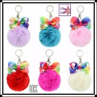 PomPom Key Ring/Bag Charm With Rainbow Coloured Bow - Key Chain 6 colour PomPoms