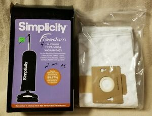 SIMPLICITY FREEDOM Box of 4 Genuine HEPA Media VACUUM BAGS SFH-6 Cloth Fabric