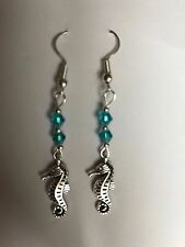 Nautical Seahorse Drop dangle Earringsturquoise glass beads Silver Plated Hooks