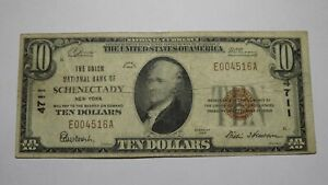 $10 1929 Schenectady New York NY National Currency Bank Note Bill Ch. #4711 FINE